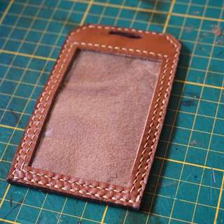 cf46802695 Handmade Leather Name Badge  Card Holder
