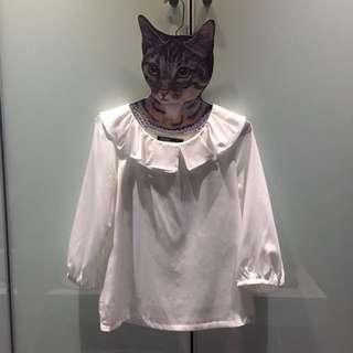 MASTINA荷葉領白襯衫