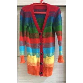 長版彩色厚針織外套