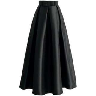 Maxi Satin Skirt (Black)
