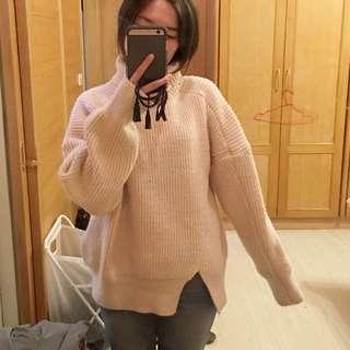 全新厚針織高領寬鬆版毛衣(保留)