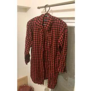 【暫售】紅黑格子韓風長版襯衫外套