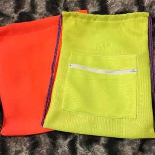手工 螢光色束口袋