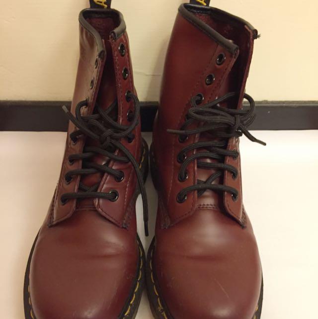 馬丁8孔1460酒紅女靴