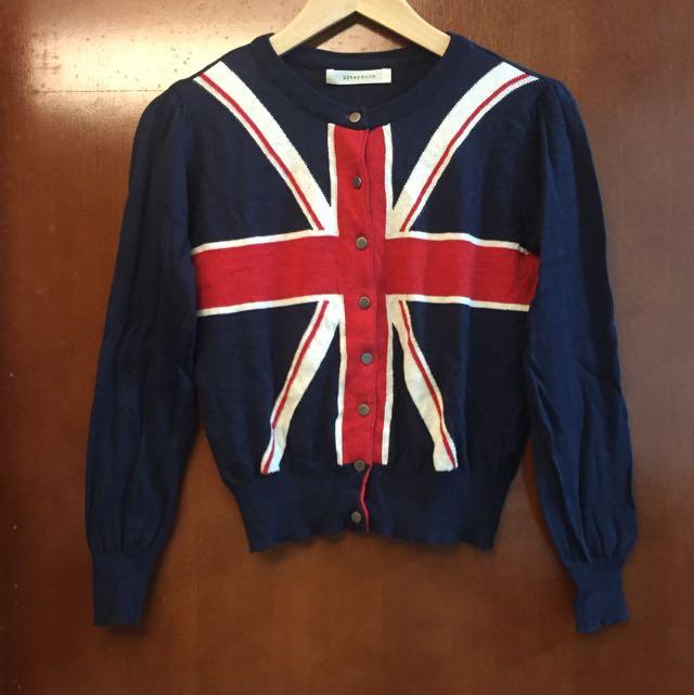 韓國深藍色英國國旗短版針織小外套