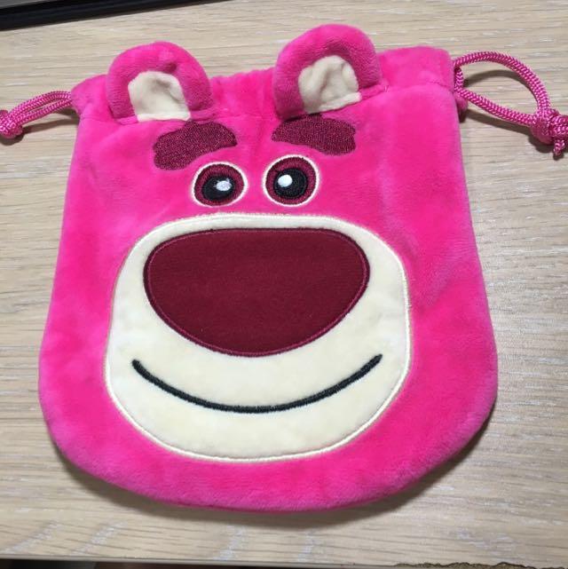 可愛迪士尼草莓熊粉紅抱哥玩具總動員束口袋