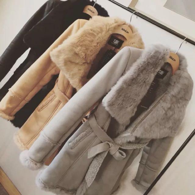 韓版麂皮绒拼接毛領外套/三色