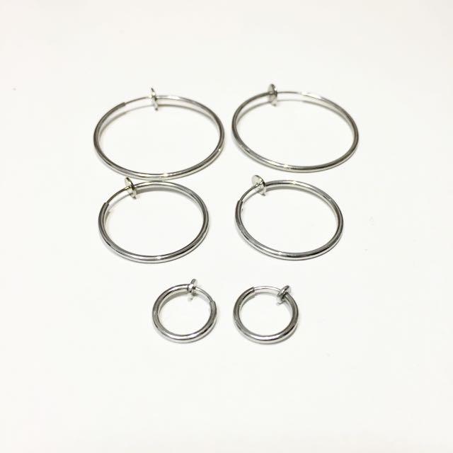 (全新)圓圈夾式耳環