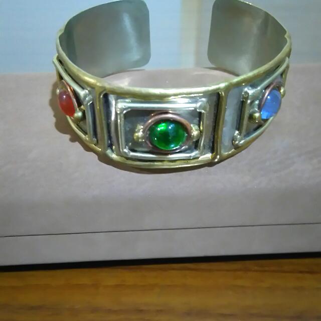 民族風三色彩珠純銀手環