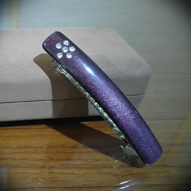 紫彩水鑽小花髮夾