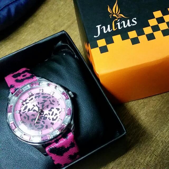韓版 julius 豹紋 手錶