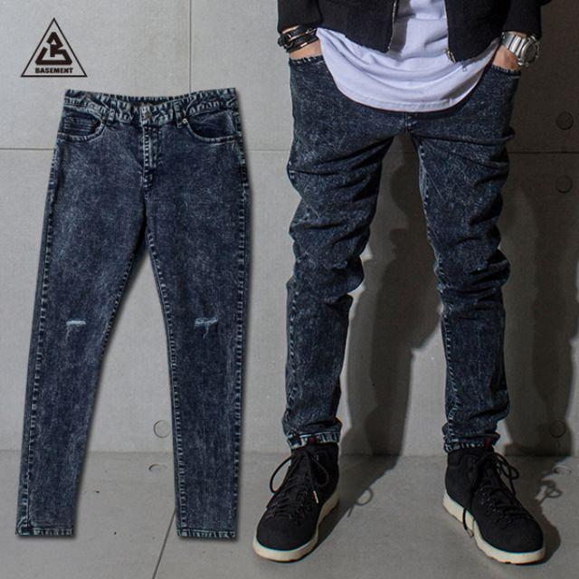(地下室BASEMENT)。BT 日系搭配 膝蓋刀割雪花 牛仔褲 長褲(現+預) C0319