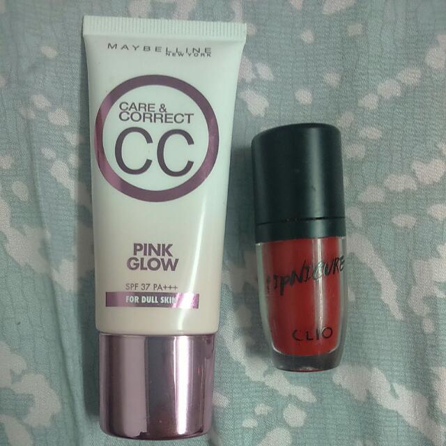Maybellin 粉紅寶石CC + CLIO 熱豔沸點釉光染唇蜜 Set 組合