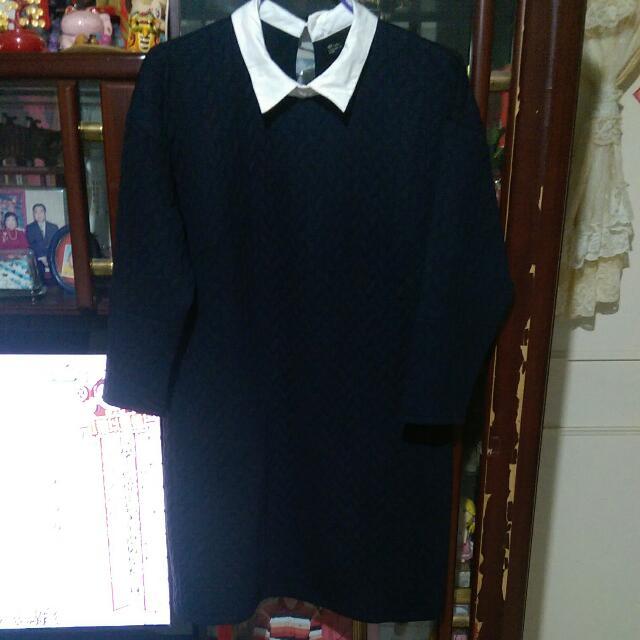 麻花淺紋深藍色假領洋裝NET