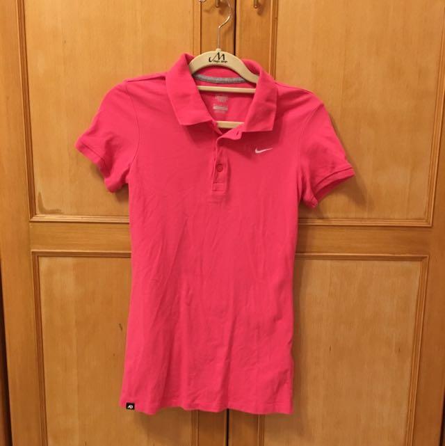 Nike桃紅plol衫