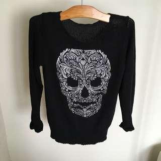 H&M 💀骷髏頭長版毛衣