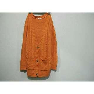 NET_橘黃色針織毛衣外套