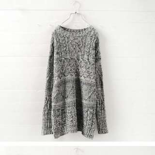 混針織長版毛衣