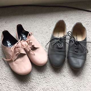 Bnew Flatties x 2 Lace Up Size7