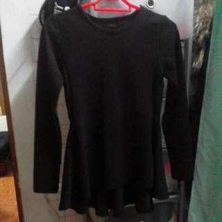 [全新] 正韓 黑色小洋裝 前短後長長袖上衣
