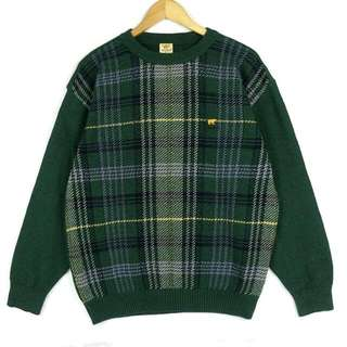 ☞新增實穿☞日本蘇格蘭綠格子文學氣質F13☞grand grand復古VINTAGE古著毛衣