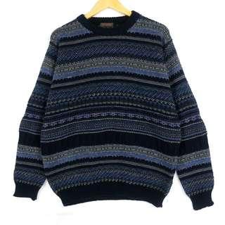 ☞義大利藍黑小幾何條紋民族F10☞grand grand復古VINTAGE古著毛衣