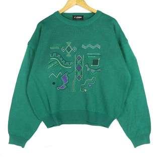 (已預定🙌)☞新增實穿兩件免運☞精緻幾何小刺繡湖綠F15☞grand grand復古VINTAGE古著毛衣