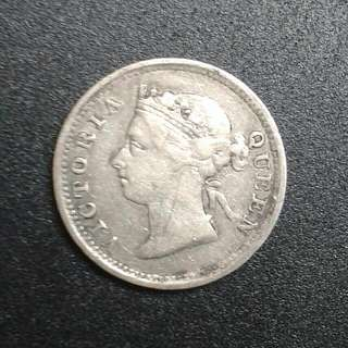 Straits Settlements Queen Victoria 5 Cents 1891 Silver Coin