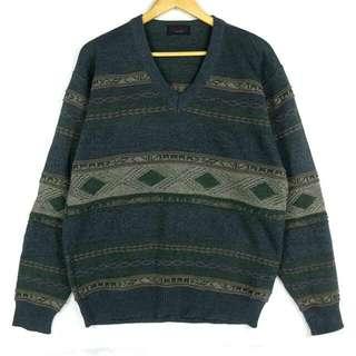 (已預定)☞新增實穿☞藍綠暗感民族F11☞grand grand復古VINTAGE古著毛衣