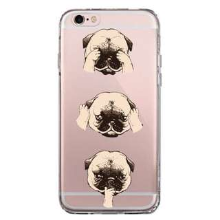 Pug: See, Hear, Speak No Evil (Transparent) Phone Case