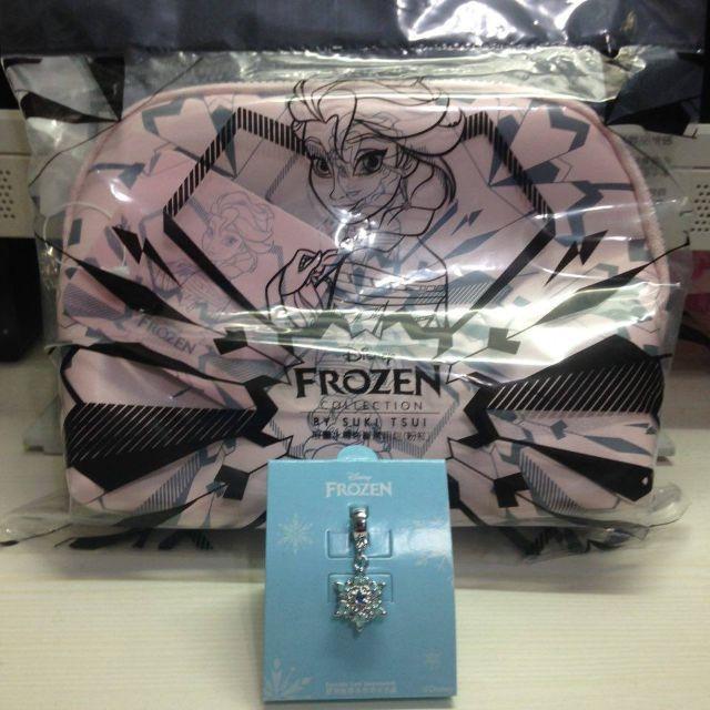 (已預訂)7-11 冰雪奇緣 時尚萬用包 粉色 7-eleven 附銀色冰雪系列(冰宮)-伶俐 墜飾 串飾