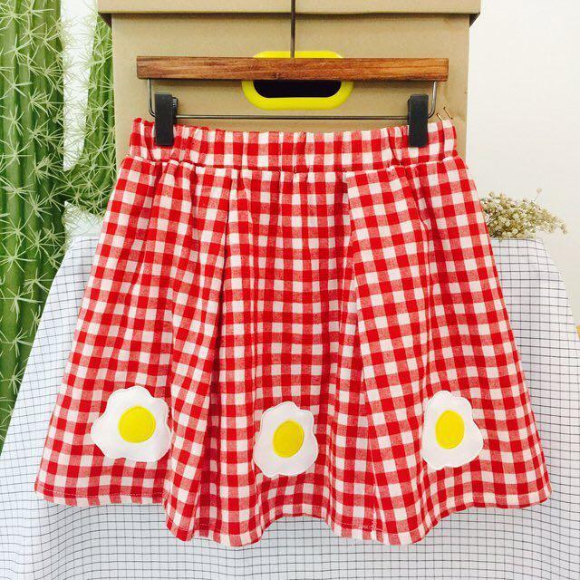 🍳可愛日系荷包蛋格子裙
