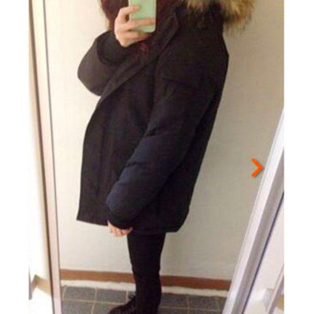 (保留)正韓加厚鋪棉黑色連帽外套大衣