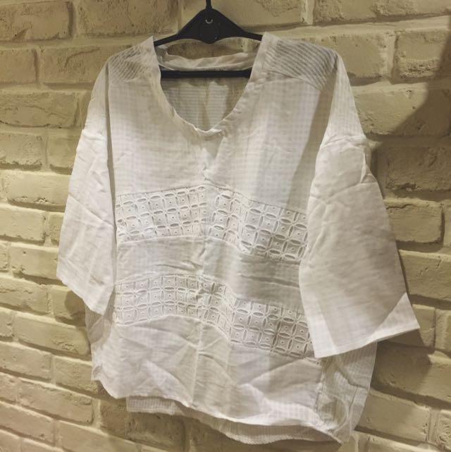 🎉降價🎉《韓組》小清新🍭雕花拼接七分袖棉衫