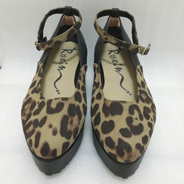 新》增高黑豹紋平底鞋