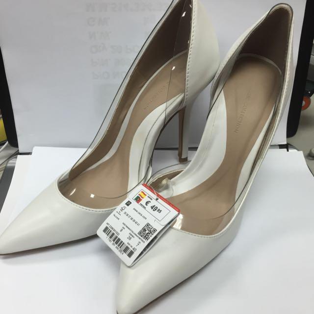 全新 Zara 白色高跟鞋