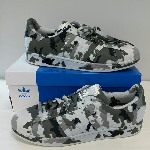 sports shoes cdbf5 3756b ... ireland adidas superstar graphic pack grey camo size us 13 uk 12.5 mens  fashion on carousell