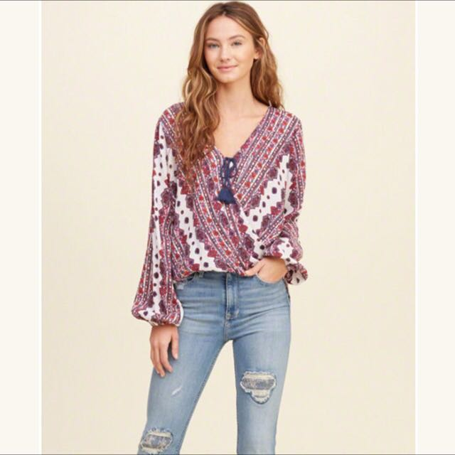 Hollister Printed Peasant Blouse XS