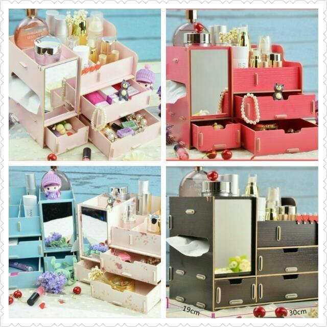 【全新】木質DIY收納化妝盒