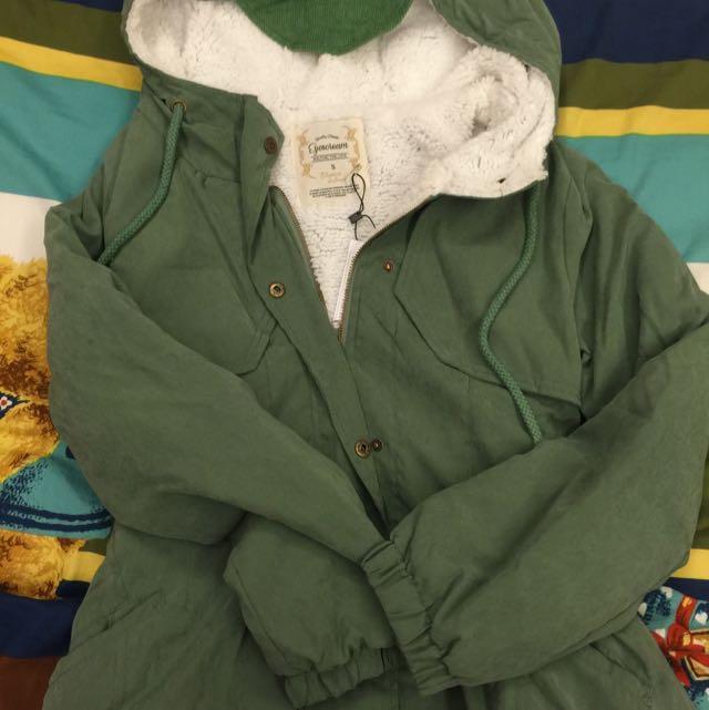EYECREAM 軍綠 鋪棉長版外套