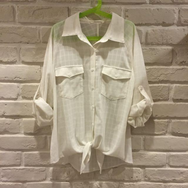 《NET collection》透膚格紋綁結襯衫