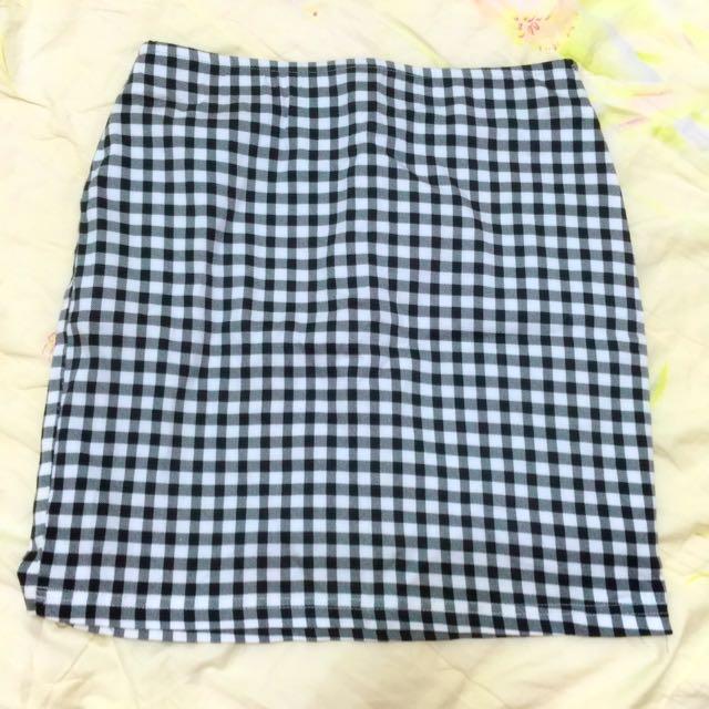 Pazzo黑X白🔲格紋直筒短裙