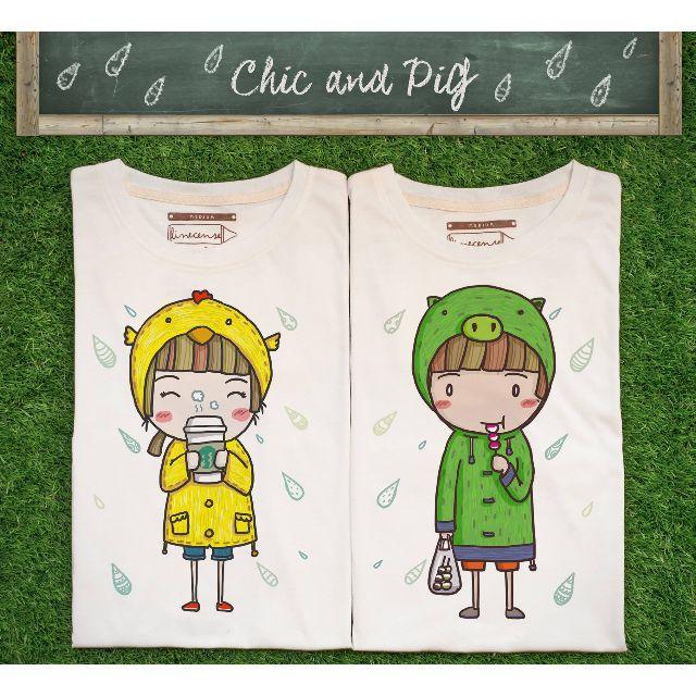Raining Coffee Chick & Fishball Pig t-shirts