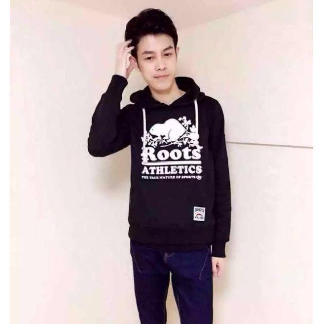 【戰利品本舖】全新正品Roots 男生厚棉帽T 黑色 綠色