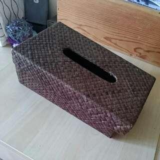 二手。編織 面紙盒 衛生紙盒 藤編 峇里島