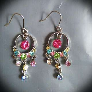 Multi Colours Crystals Earrings