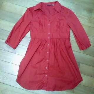 紅色長版襯衫