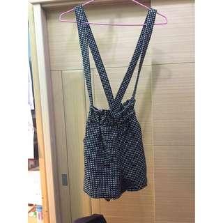 古著 吊帶褲裙 可拆式 黑白 圓點