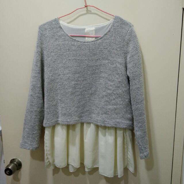 灰色假2件毛衣