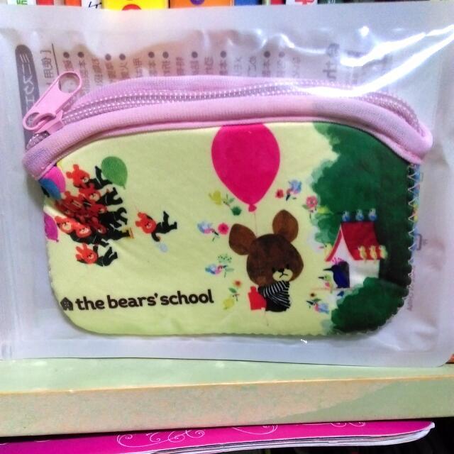 全新日本小熊學校零錢包/相機包